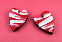 Heart Cookies. Heart cookie on red background royalty free stock photos