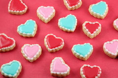 Heart Cookies. On red background Stock Images