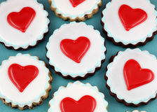 Heart Cookies. Valentine's day background Royalty Free Stock Images