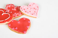 Heart Cookies. Red and Pink Heart Shaped Cookies with Icing royalty free stock photo