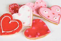 Heart Cookies. Red and Pink Heart Shaped Cookies with Icing stock photography