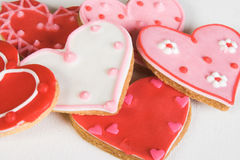 Heart Cookies. Red and Pink Heart Shaped Cookies with Icing stock photo