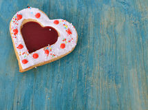 Heart cookies on the blue. Royalty Free Stock Photography