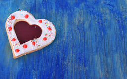 Heart cookies on the blue  wood table . Royalty Free Stock Image