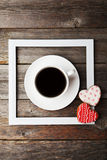 Heart cookies with cup of coffee on the grey wooden background Stock Images