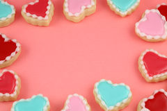 Heart Cookies Frame. Heart cookies valentine's day background Royalty Free Stock Photography