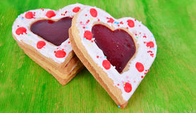 Heart cookies on the green. Stock Photography