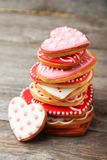 Heart cookies on a grey wooden background Stock Photography