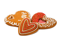 Heart cookies isolated. On white background Royalty Free Stock Image