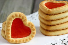 Heart cookies. Cookies with a heart of jelly Shallow DOF stock photo