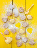 Heart cookies with Lemon Curd Stock Photo