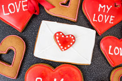 Heart cookies with letter on dark background Stock Photography