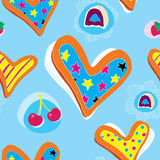 Heart Cookies Pattern With Candy and Cherry Royalty Free Stock Photo