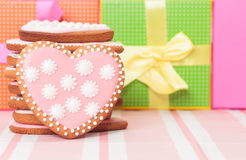Heart cookies and presents Royalty Free Stock Photography
