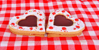 Heart cookies on the red table cloth Stock Image