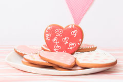 Heart cookies served on plate, celebration Stock Photos