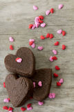 Heart Cookies with Sprinkles Royalty Free Stock Photography