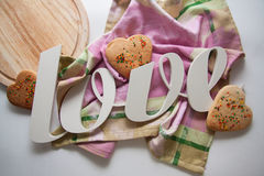 Heart cookies. Sweet holiday heart shaped cookies stock image