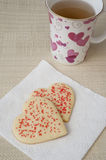 Heart Cookies and Tea Royalty Free Stock Images