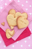 Heart cookies for Valentines Day. Heart Letterpress cookies  for Valentines Day or Love Concept Stock Photography
