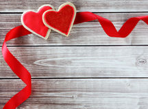 Heart cookies. On wood background with decorations Royalty Free Stock Photo