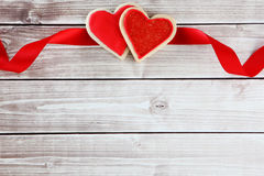 Heart cookies. On wood background with decorations Stock Photography