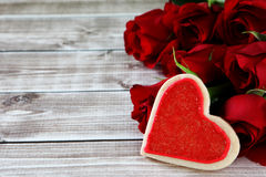 Heart cookies. On wood background with decorations Stock Photo