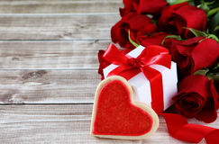 Heart cookies. On wood background with decorations Stock Image