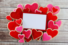 Heart cookies. On wood background with decorations Stock Images