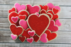 Heart cookies. On wood background with decorations Royalty Free Stock Image
