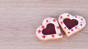 Heart cookies on  wood table . Stock Photography
