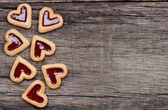 Heart cookies on wooden background Stock Images