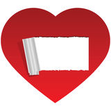 Heart with copy space. Illustration of a red heart with a hole peeled in the middle for copy space Royalty Free Stock Photography