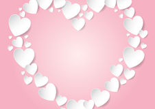 Heart with copy space on pink background. Heart with copy space flat lay with white vector paper hearts on pink background Stock Photography