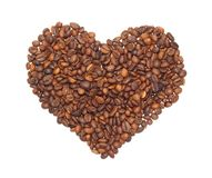 Heart from the corns of coffees Royalty Free Stock Photo
