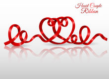 Heart couple made of red ribbon Stock Image