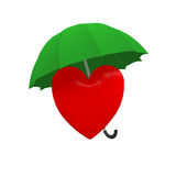Heart. Coverd by an umbrella Stock Images
