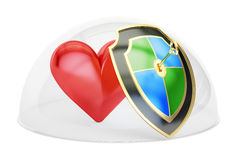 Heart covered by glass dome. Protection and security concept, 3D. Rendering on white background Royalty Free Stock Photo