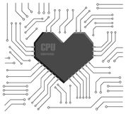 Heart CPU. Vector motherboard with a heart shape CPU Royalty Free Stock Photography