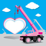 heart and crane under construction vector Stock Image
