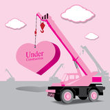 heart and crane under construction vector Stock Photos