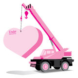 heart and crane under construction vector Royalty Free Stock Images
