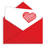 Heart crayon on red envelope vector Royalty Free Stock Photo