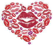 Heart created by color lips Royalty Free Stock Image
