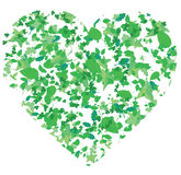 Heart, created from leaves of different trees Royalty Free Stock Image