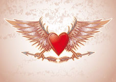 Heart crest. High detailed heart crest in engrave style Stock Photos