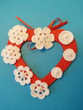 Heart and crochet flowers Stock Image