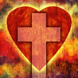 Heart Cross. A Christian cross with a heart on a grunge colored background royalty free illustration