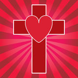 Heart and Cross. This is a  illustration of a pulsating heart and religious cross. Love god, Jesus, religion, faith, and life Royalty Free Stock Photo