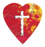 Heart Cross. A rough colored heart with a Christian cross Vector Illustration